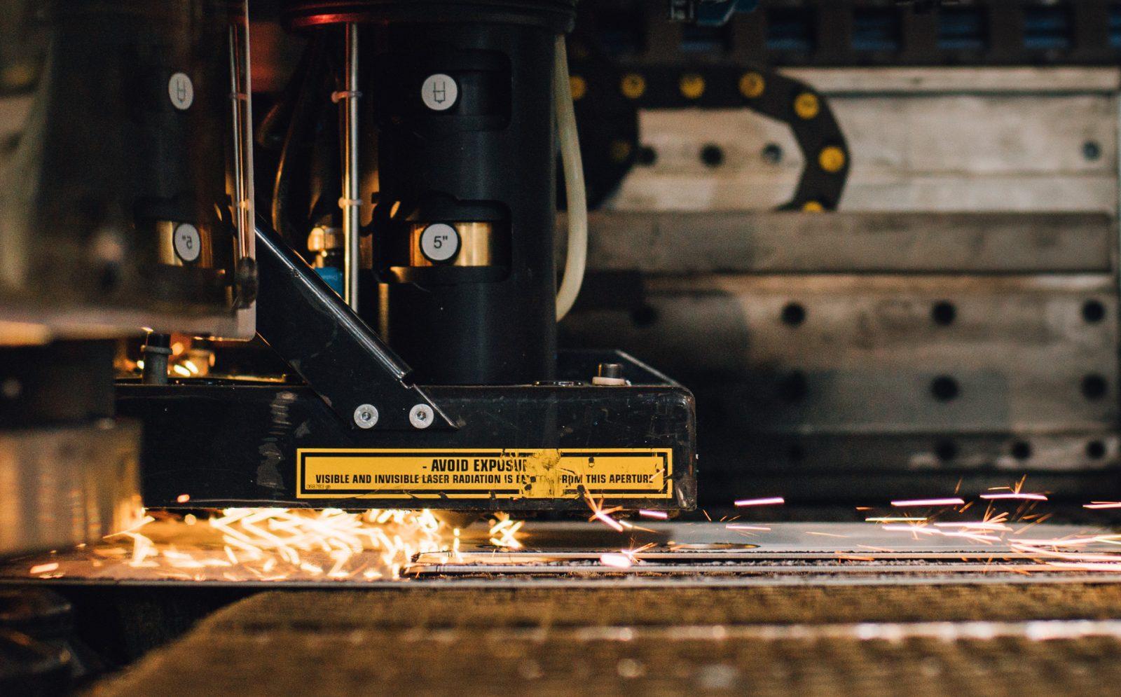 CNC laser cutting metal.