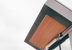 wood grain metal soffit application