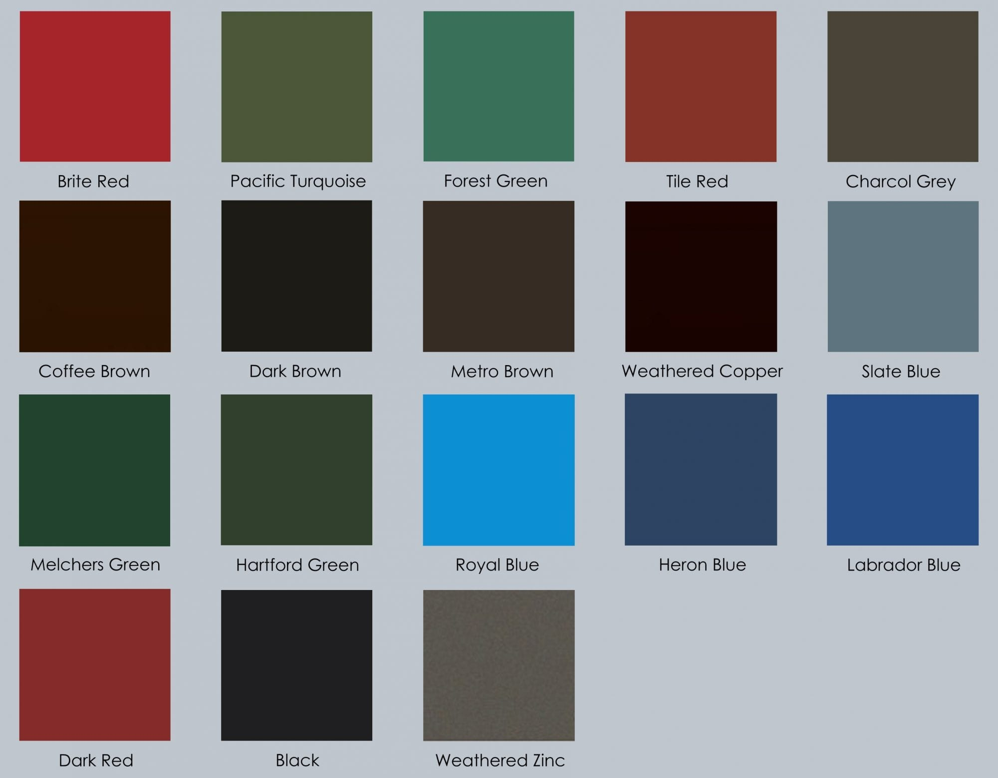 IMARK's finishes color pallet.
